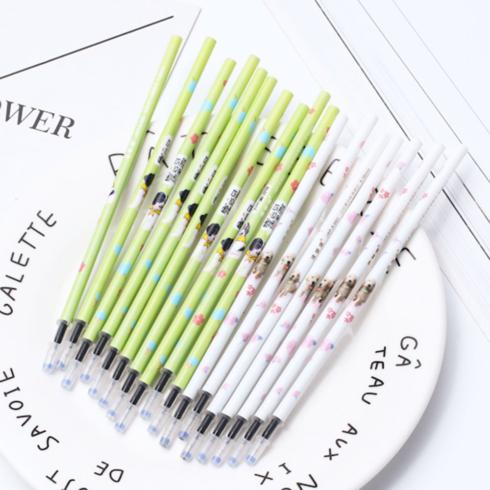 10 Pcs Erasable Gel Refill 0.5mm Erasable Neutral Black Blue Ink School Student Office Writing Pens Refill Stationery Supplies