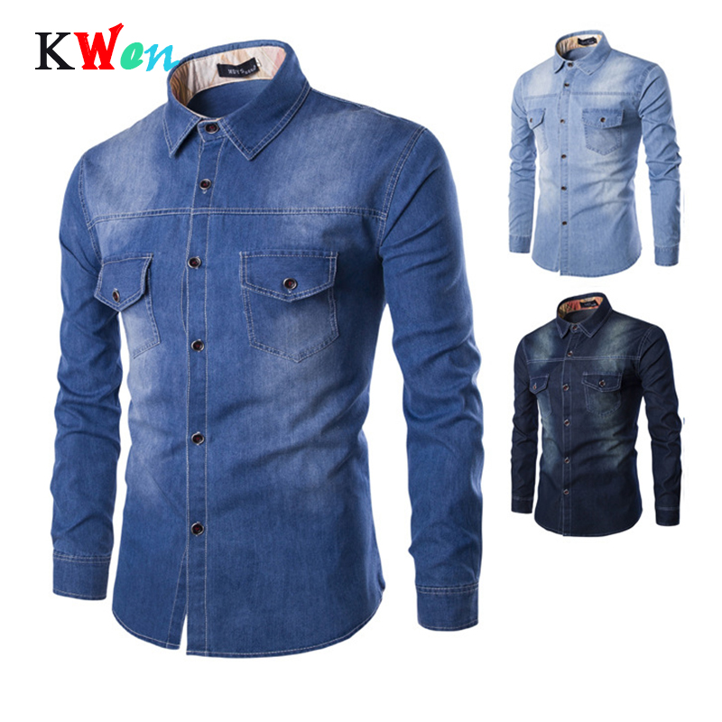 New Denim Shirt Men Plus Large Size Cotton Jeans Cardigan Casual Fashion Two-pocket Slim Fit Long Sleeve Shirts For Male M-6XL