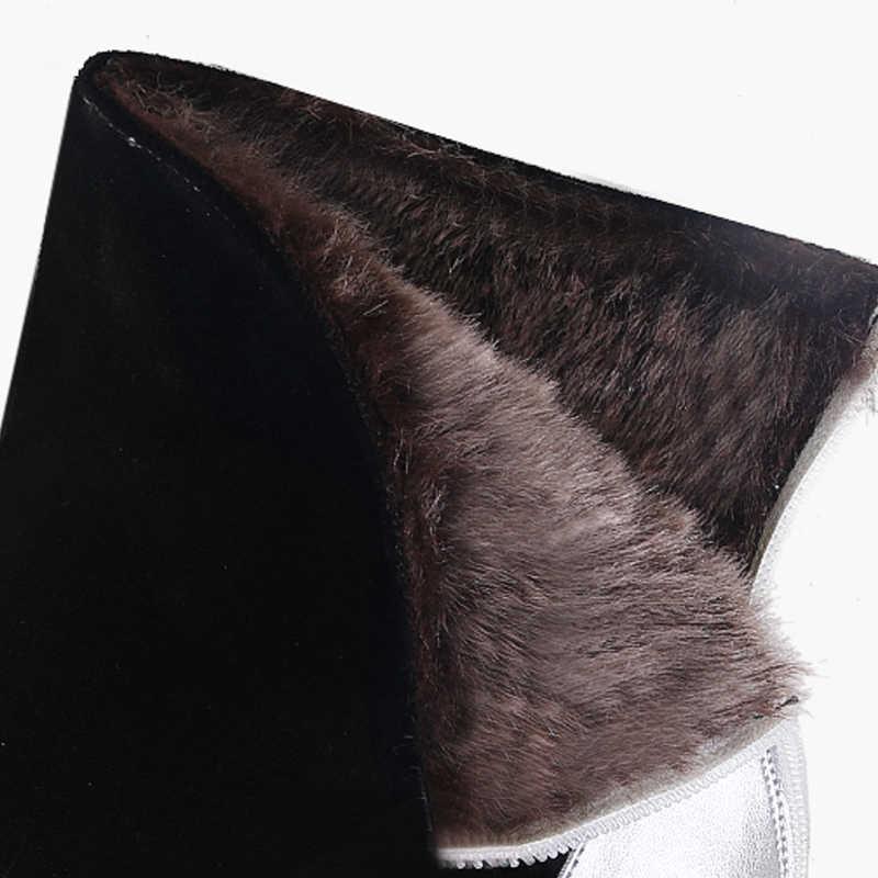 ฤดูหนาวรองเท้าข้อเท้า Hollow OUT รองเท้าส้นสูงรองเท้าส้นสูงรองเท้าผู้หญิงหิมะรองเท้าผู้หญิงแท้หนัง HL108 MUYISEXI