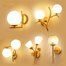 Postmodern LED Glass Wall Lamp Lighting Golden Gloss Iron Wall Lights Hotel Restaurant Sconces Living Indoor Decor Wall Lamps