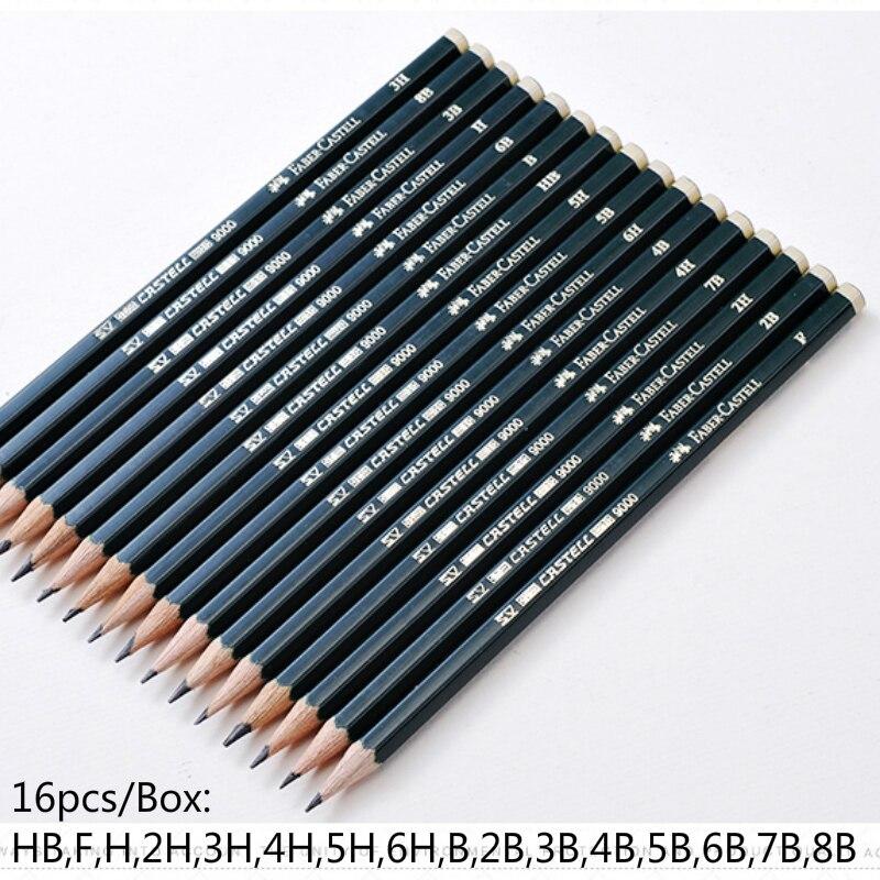 faber castel 16 pcs caixa lapis de esboco profissional lapis pastel hb 2b 2 h desenho