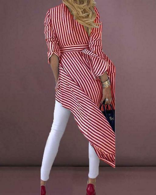 High Street Women Stripe Shirts Long Sleeve V-neck Loose Tops Blouse Striped Tied Front Dip Hem Shirt With Belt Long Shirts 5