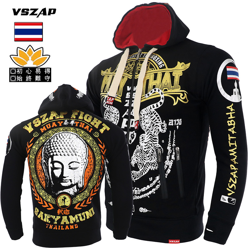 VSZAP MMA Hoodie Muay Thai Tiger Fighting Hoodies Fleece Jacket Men Sweatshirts Running Gym Boxing Martial Art Coat Hoodie
