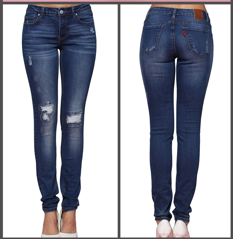 Platform Selling WOMEN'S Pants With Holes European And American-Style Pencil Jeans Foreign Goods Skinny Pants
