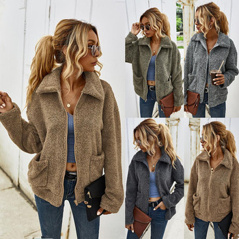 Designer's Independent Station Cross-Border 2020 Autumn and Winter Thick Warm Lapel Fur Coat Female 1