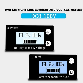LCD Battery Capacity Monitor Indicator Voltage Meter Lead Acid Lithium LiFePO4 Car Motorcycle Voltmeter Voltage Gauge DC 8V-100V image