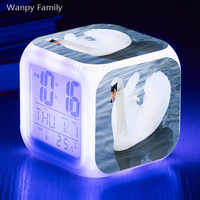 Very Nice Swan Alarm Clock 7 Color Changing Multifunctional Digital Clock Kids room LED Night Light Flashing Electronic Watch