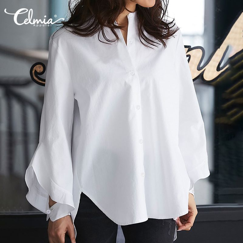 Women Tops And Blouses Celmia Ladies Long Flare Sleeve Casual Solid Shirts Buttons Loose Work Basic Blusas Femininas Plus Size 7