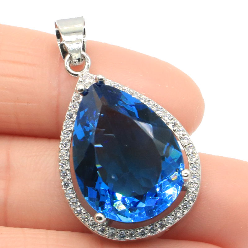 32x19mm Deluxe Big Drop Gemstone 20x15mm London Blue Topaz CZ Woman's 925 Silver Pendant