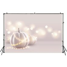 Photography Backdrop White Pumpkins Warm Lights Background Halloween Wedding Soft Pink Banner Studio Booth Holiday Baby Portrait(China)
