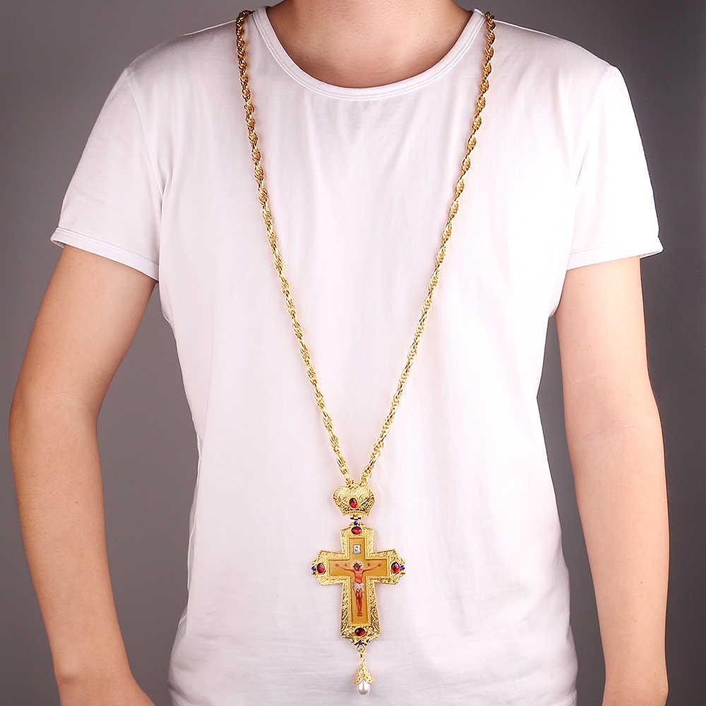 Perak Pectoral Cross Christian Church Golden Imam Salib Ortodoks Pembaptisan Hadiah Ikon Keagamaan Rusia Yunani Salib