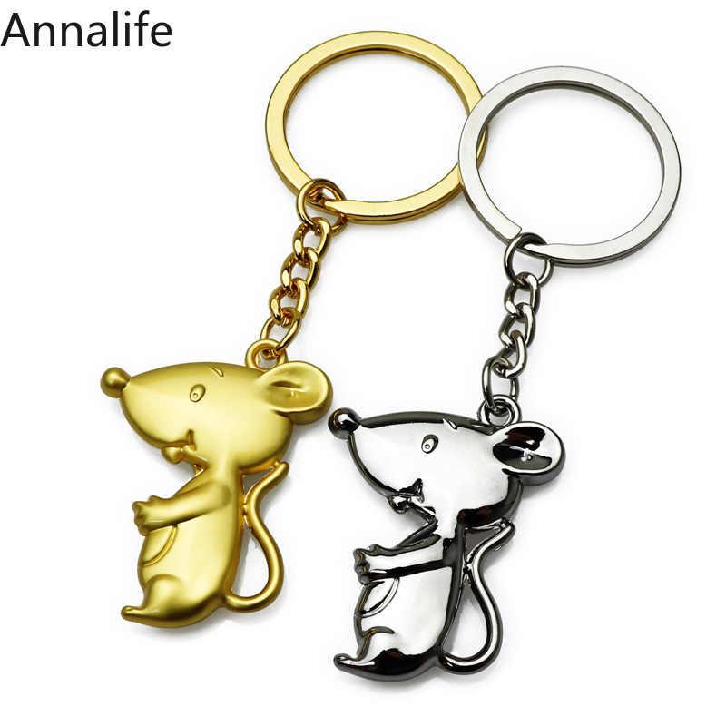 2019 Exquisite leuke cartoon-muis vorm sleutelhanger Oude zilveren rat sleutelhanger cadeau voor kinderen