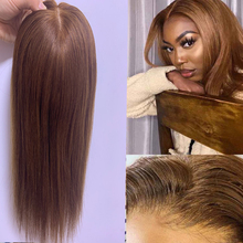 130% Density Topper Wig Virgin Cuticle Brown Remy Human Hair Breathable Machine Made Silk base Net With Clip In Hair Toupee