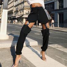 Повседневные брюки с высокой талией на завязках пряжкой и уличная