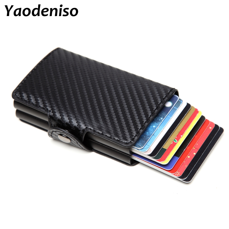 Men Double Aluminum Leather Credit Card Holder RFID Metal Wallet Automatic Pop Up Anti-theft Purse Business ID Cardholder