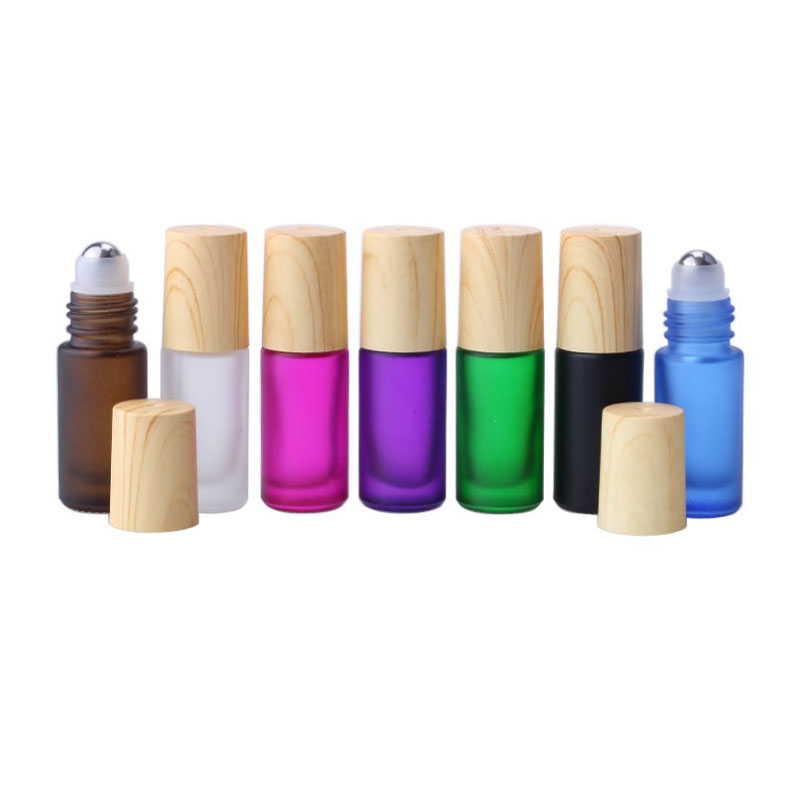 2pcs  5cc  Portable Frost Roller Glass Bottle Empty Fragrance Perfume Essential Oil Bottle 5ml Roll-On Bottle With Lids