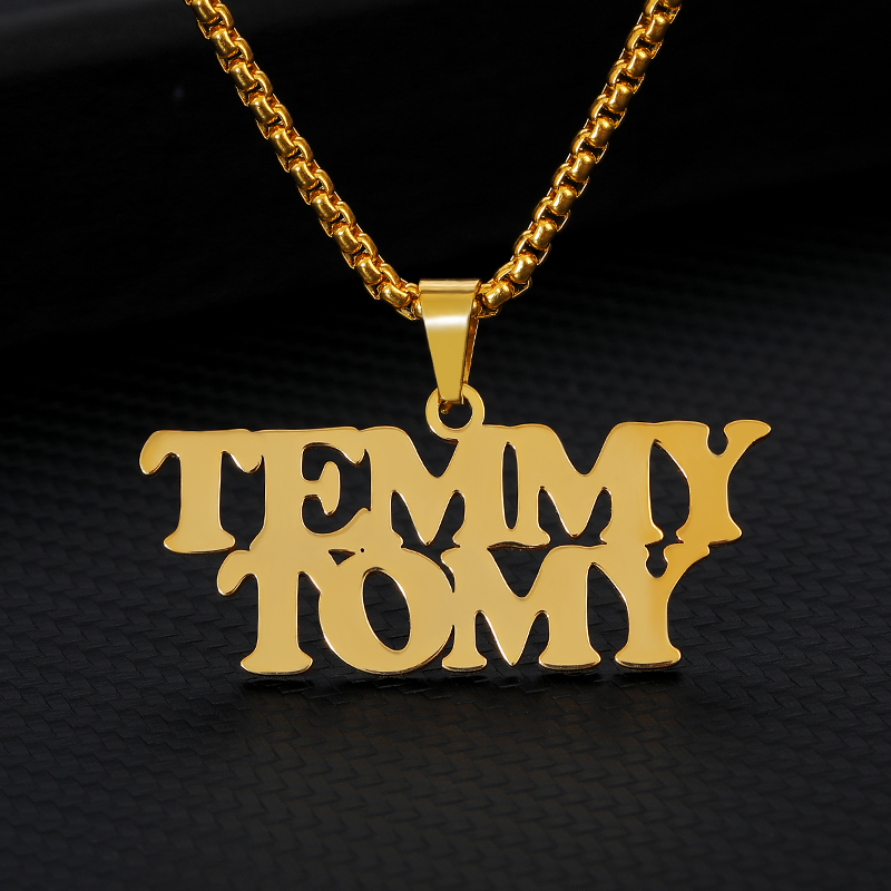 Personaliza Gold Jewelry Personalized Name Necklace Women/Men Stainless Steel Custom Pendant Necklace Best Gift For Friend
