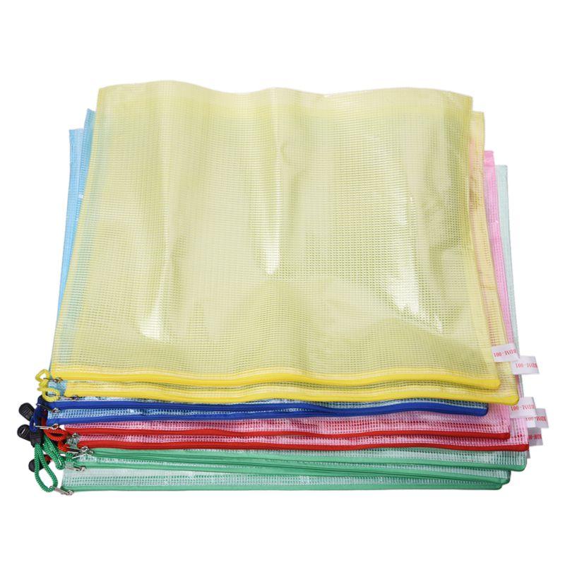 10 Pcs Netting Surface A3 Document File Holder Zipper Bag Multicolor
