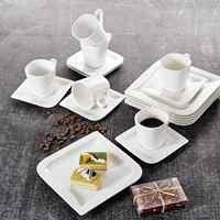 MALACASA Joesfa 18-Piece Porcelain China Ceramic Tea Coffee Cups&Saucers Sets with 6-Piece Cups,Saucers and Dessert Plates