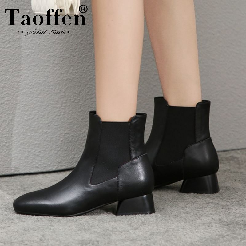 Taoffen Real Leather Ankle Boots Women