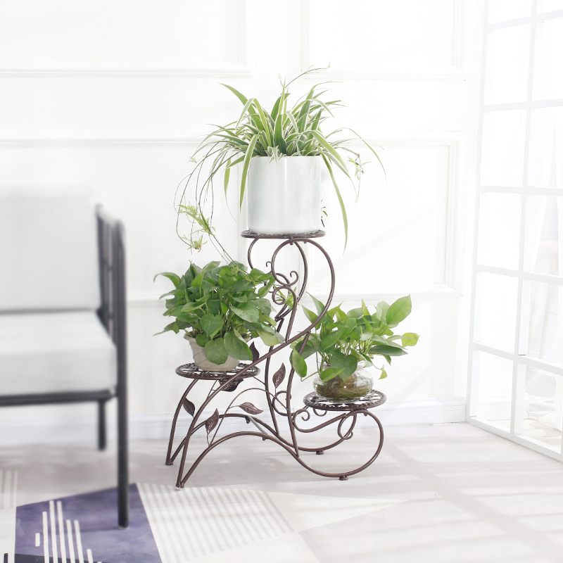 Innovative and creative metal plant stand, European style indoor flower pot stand, living room and balcony flower stand