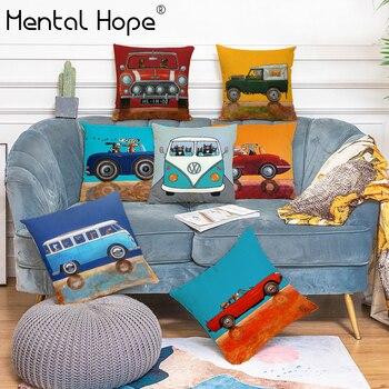 цена на Cartoon Car Dog Linen Cotton Throw Pillowcase Car Pattern Square Cushion Cover Home Decor Handmade Pillow Cover