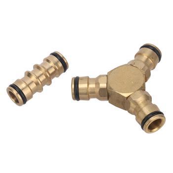 Latón 16mm Junta recta de tres vías conector rápido tubería de plomería accesorios grifo pistola de agua lavado de coches adaptadores de acoplamiento rápido
