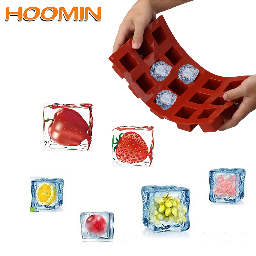 HOOMIN 15 Grids Square Silicone Soap Molds Handmade Soap For DIY Soap Making Chocolate Cake Mold Kitchen Dining and Bar Supplies