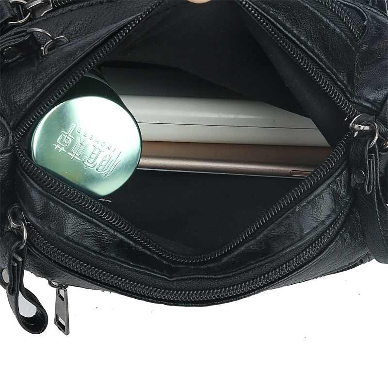 Siyah Kış Tarzı Küçük Çanta Yıkanmış PU Deri Lüks Çanta Kadın Çanta Tasarımcısı Çantalar Kadın Omuz Crossbody Çanta Anne Için