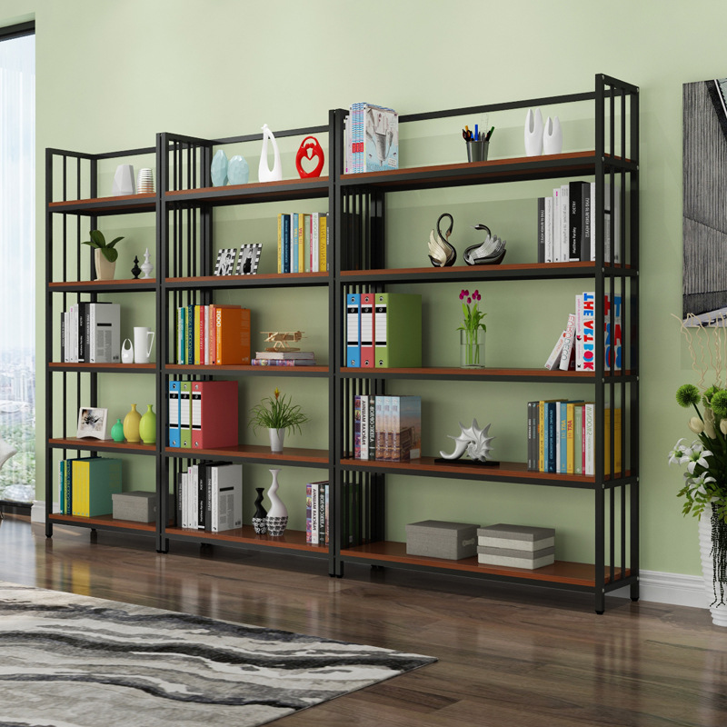 Creative Steel Wood Bookshelf Simplicity Storage Shelf Living Room Simple Multilayer Showing Stand Manufacturers Wholesale Simpl