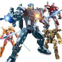 Military Pacific Rim Soldiers Wars Jaeger Giant Mech Warrior Hunter Movie Building Blocks Toys For Children Set(China)