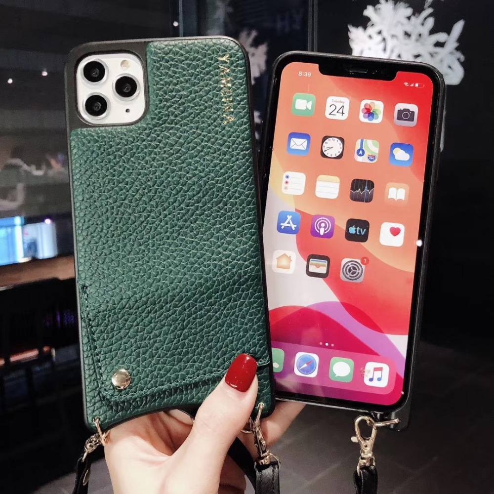 H9ebd0f904ea147e98dc6e05782d632ccG Credit Card Leather Wallet Strap Crossbody Long Chain Phone Case for Iphone 11 pro XR XS Max 6S 8 7 plus luxury Back cover coque