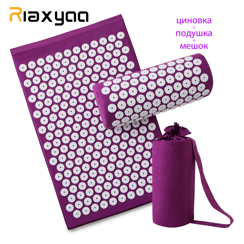 Massager (appro.67*42cm)Cushion Shakti Mat Acupressure Relieve Back Body Pain Spike Mat Acupuncture Massage Mat with Pillow