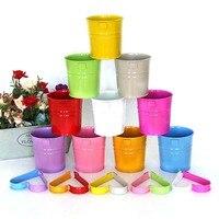 10pcs Flower Pot Iron Planter Nursery Garden Desk Home Decor Candy Color Garden supplies