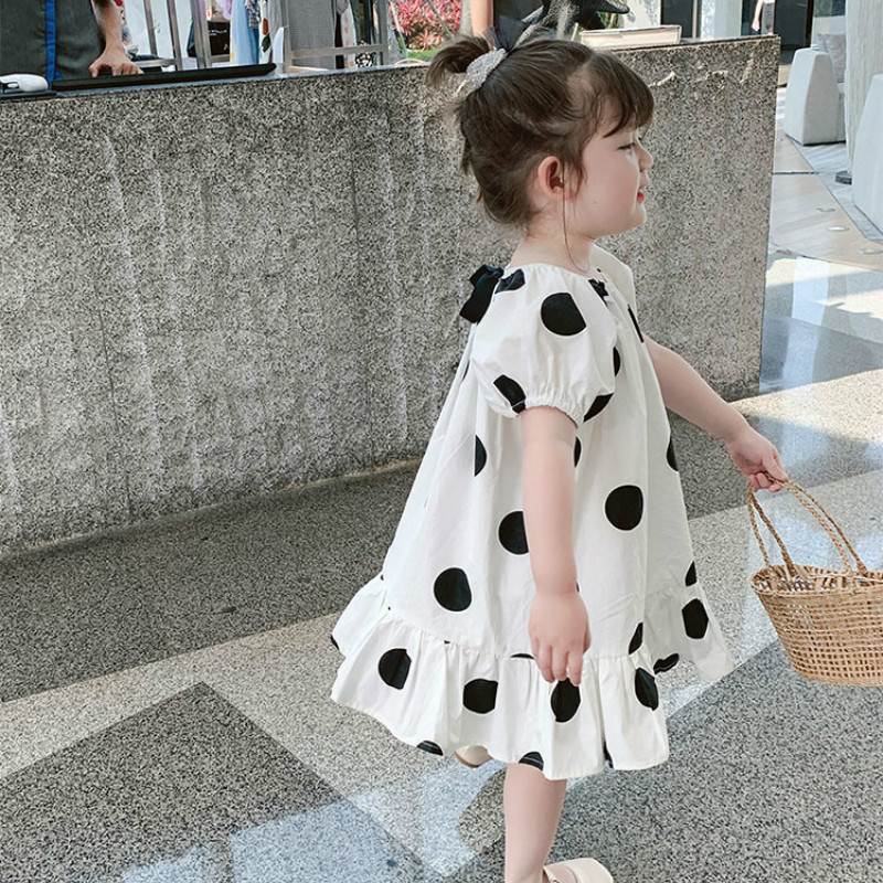 2021 Summer New Arrival Girls Fashion Dot Dress Kids Cotton Back Bow Dresses Kids Dresses for Girls