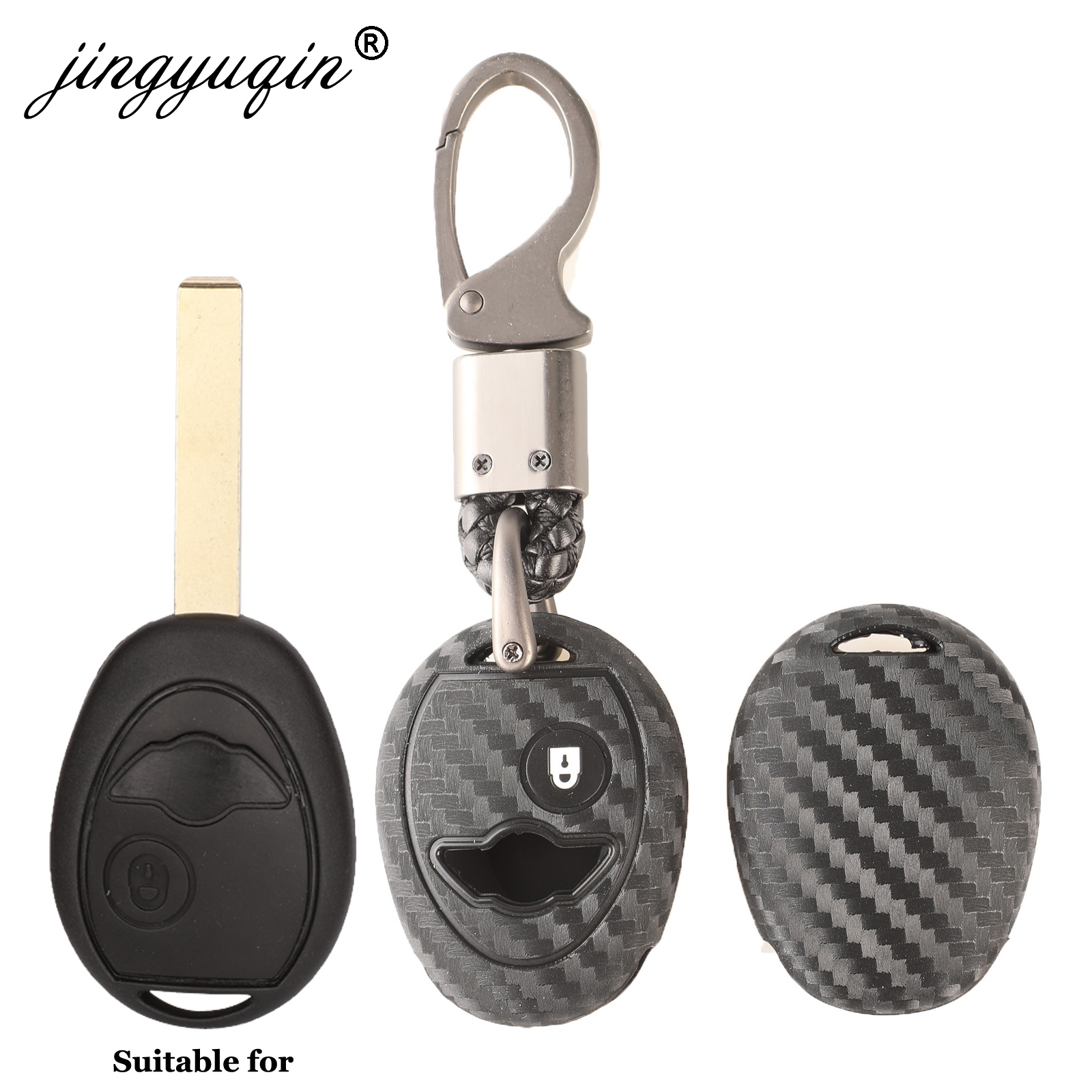 Jingyuqin Car Styling Silicone Car Key Case Protector Fob For BMW Mini Cooper R50 R53 Auto Accessories 1 Button Carbon Key Cover