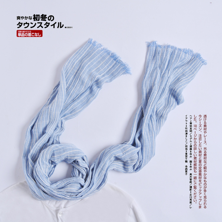 2018 Spring And Summer Japanese Style Cotton Scarf Women's Stripes Joint Korean-style Shawl Fashion Color Mixture Thin Scarf Sil