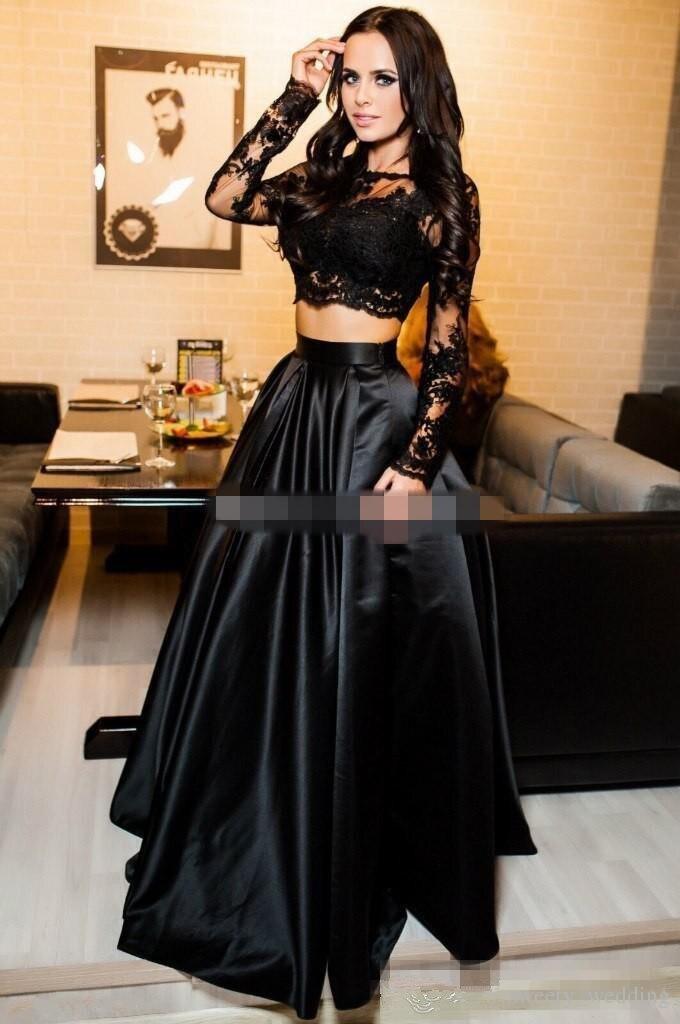 Charmant Tweedelige Zwart Prom Dresses 2019 Sheer Hals Lange Mouwen Applicaties Satin Custom Made Avondjurken Formele Prom Jurk - 2