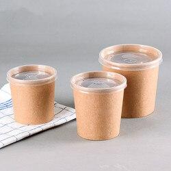 50 sztuk wysokiej jakości okrągłe jednorazowe do jedzenia sałatka zupa na wynos opakowania kubki 12 oz/16 oz/26 oz lody duże papierowe kubki z pokrywką