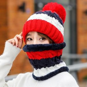 Image 5 - Neue Winter frauen Samt Wolle Hüte Twist farbe passenden Mützen Skullies Hut Weibliche Reiten Bib Gestrickte Hüte Sets Großhandel