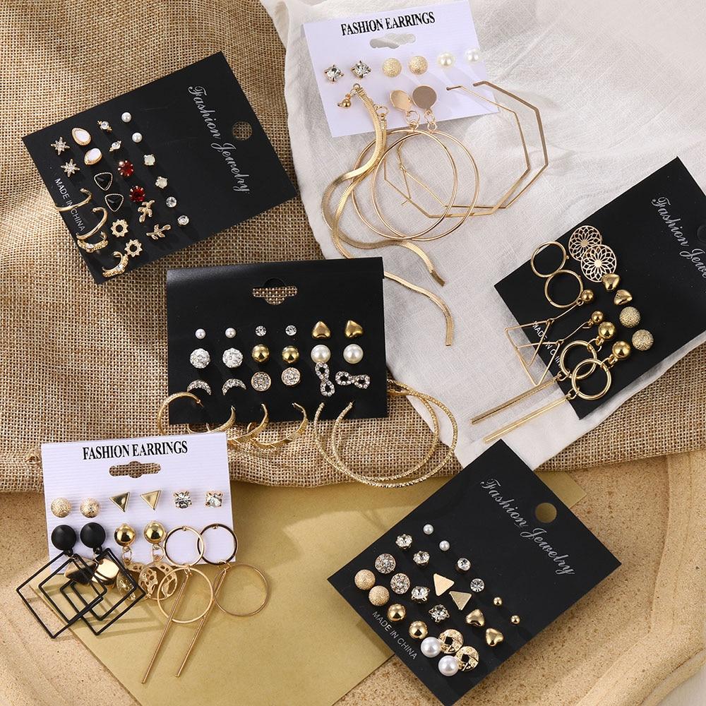 Mode frauen Ohrringe Set Perle Kristall Stud Ohrringe Für Frauen 2020 Boho Geometrische Runde Blume Quaste Ohrringe Punk Schmuck