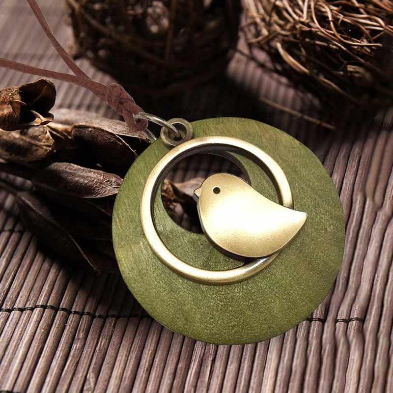 1 sztuk ręcznie drewniany naszyjnik biżuteria oświadczenie koralik wisiorek w kształcie ptaka naszyjniki aksamitna długi naszyjnik z łańcuszkiem kobiet i mężczyzn biżuteria