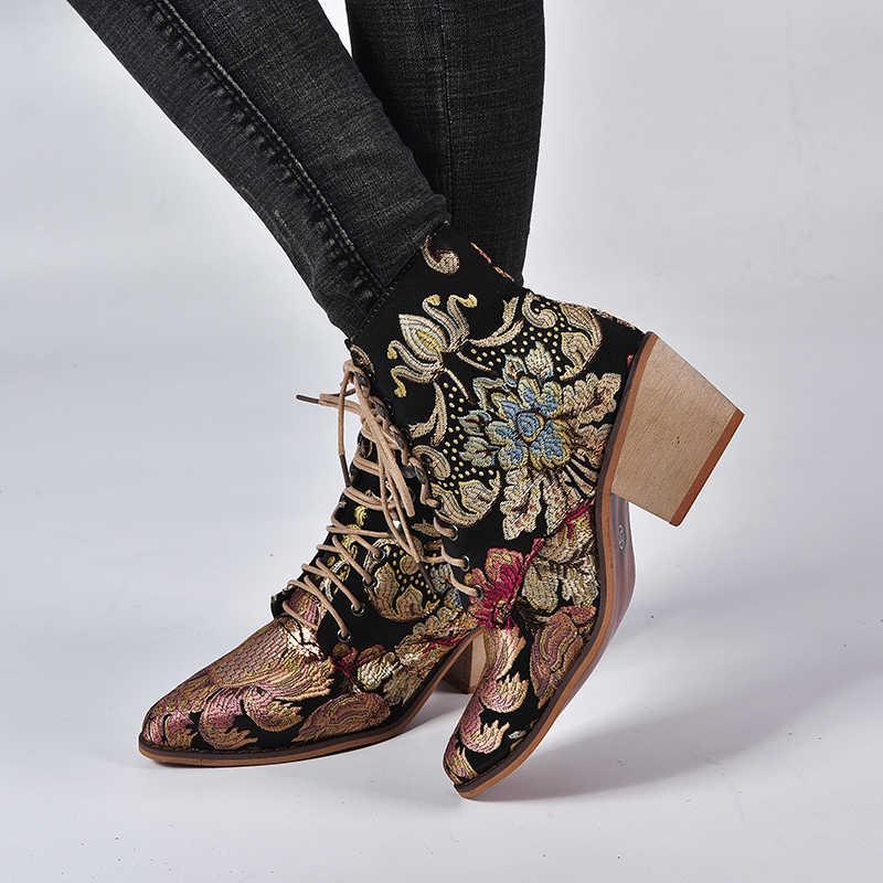 PUIMENTIUA 2019 ฤดูใบไม้ผลิ Retro ผู้หญิงเย็บปักถักร้อยดอกไม้สั้น Lady Elegant Lace Up รองเท้าข้อเท้าหญิง Chunky Botas Mujer