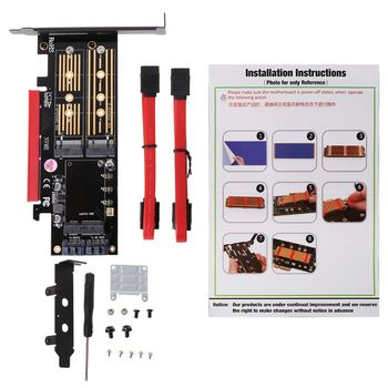 PCI-E 3.0 X16 to M.2 SSD PCIE to M2 Adapter Raiser M Key B Key mSATA 2 x 7PinSATA Port NVME M2 SSD AHCI mSATA 3 in 1 RiserCard цена 2017