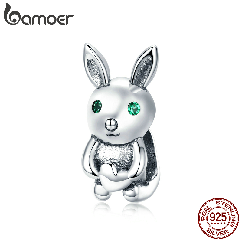 Bamoer Sterling Silver 925 Jewelry Innocence Rabbit Animal Charm Fit Original Bracelet & Bangle Breloque Bracelet Charms BSC169