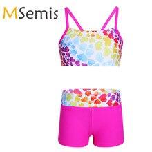 Детский купальник-танкини для девочек, гимнастический купальник в форме сердца, купальный костюм, комплект из двух предметов, купальный костюм, топы с низом