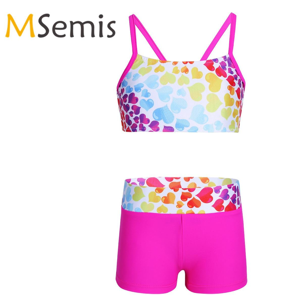 Kids Girls Tankini Swimsuit Gymnastics Leotard Heart-shaped Two Piece Swimwear Set Swimsuit Tops With Bottoms Beach Bathing Suit