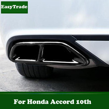 For Honda Accord 10th Accessories Stainless Steel Tail Throat Exhaust Pipe Muffler Tip Exhaust Trim Car Styling Accessories