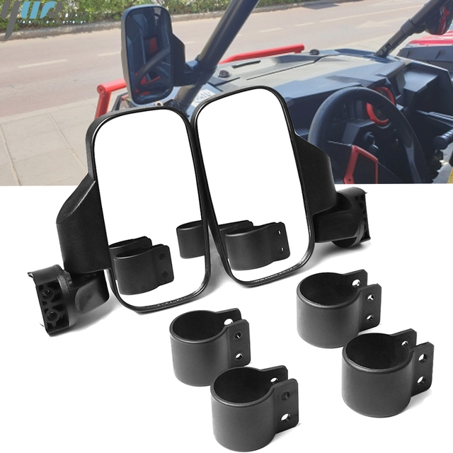 """UTV Rear View mirror Side Mirror mirror with 1.75""""/2"""" Roll Bar Cage fit For Polaris Ranger and RZR 4and XP 4 Perimeter 2"""" 2016+"""