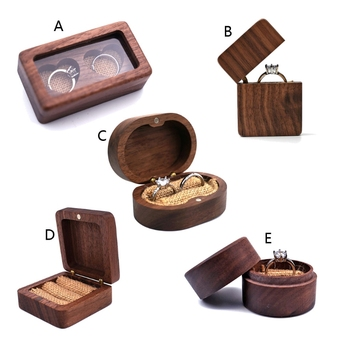 Walnut Wood Jewelry Box Engagement Wedding Ceremony Ring Storage Proposal Portable Holder Rustic